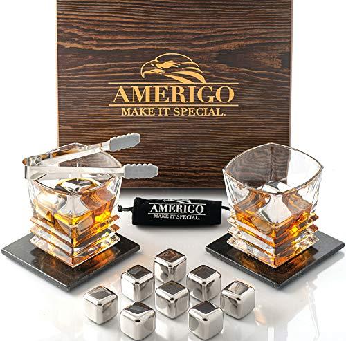 Amerigo Whiskey Stones Set di Regalo in Acciaio Inox con Bicchieri Whisky - Cubetti Ghiaccio Riutilizzabili - Regali per Lui - Set di Pietre da Whisky - Cubetti Refrigeranti con Sottobicchieri