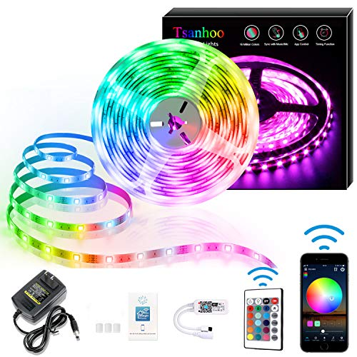 Tsanhoo WiFi LED Strip Lights,16.4ft Waterproof RGB LED Light Strips,5050 LED Tape Light with Remote APP Control,Color Changing Lights for Bedroom Kitchen Decoration
