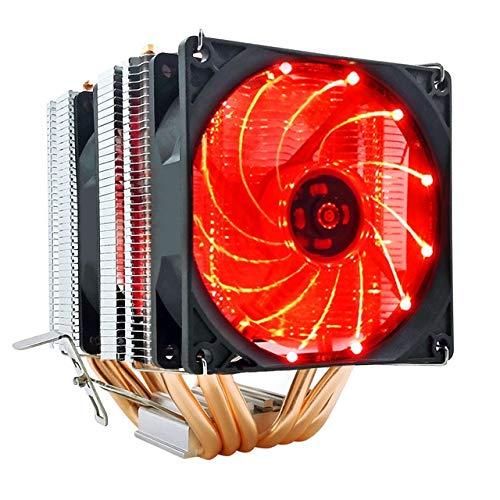 6 tubos de calor CPU Cooler RGB 90mm PWM de 4 pines PC tranquila for Intel LGA 775 1150 1151 1155 1366 AMD AM2 AM3 AM4 ventilador de la CPU ( Blade Color : Red LED , Blade Quantity : 2 Fan 4Pin PWM )