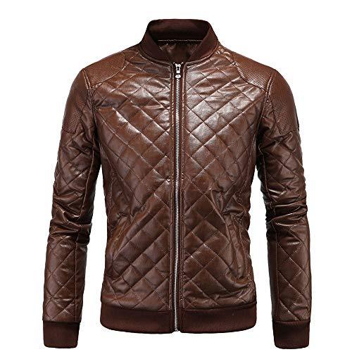 Chaqueta de cuero para hombre con cuello de piel con diamante para hombre, chaqueta de cuero negro, marrón, ropa informal y de fiesta (color: marrón, tamaño: XL)