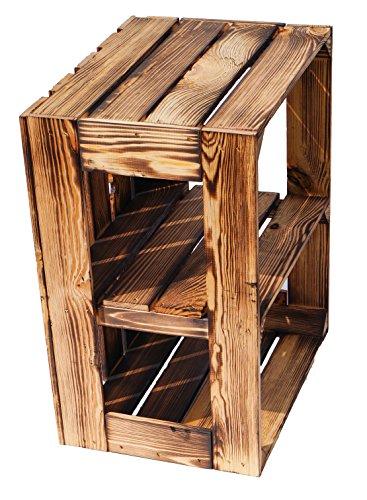 flambierte/geflammte Massive Obstkisten als Regal oder als Klassische Kiste ca 49 x 42 x 31 cm/Apfelkisten Weinkisten aus dem Alten Land (1 Stück geflammte offen mit Quer Einlage) - 4