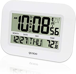QUIGO Atomic Wall/Desk Clock Date&Temperature,Large Display,Battery Operated-Easy Reading (White)