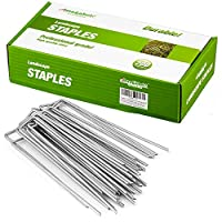 6 INCH LENGTH & PRO GRADE HEAVY DUTY: Single staple size with 6inch in length and 1inch in width. 200 packs heavy duty professional grade quality landscape staples garden stakes meticulously crafted to anchor all your home projects. Longer and strong...