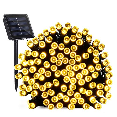 Solar String Lights Outdoor, BrizLabs 22M 200 LED Solar Powered Christmas Fairy Lights 8 Modes with Memory Function Waterproof Twinkle Lights for Garden Patio Fence Tree Plants Yard, Warm White