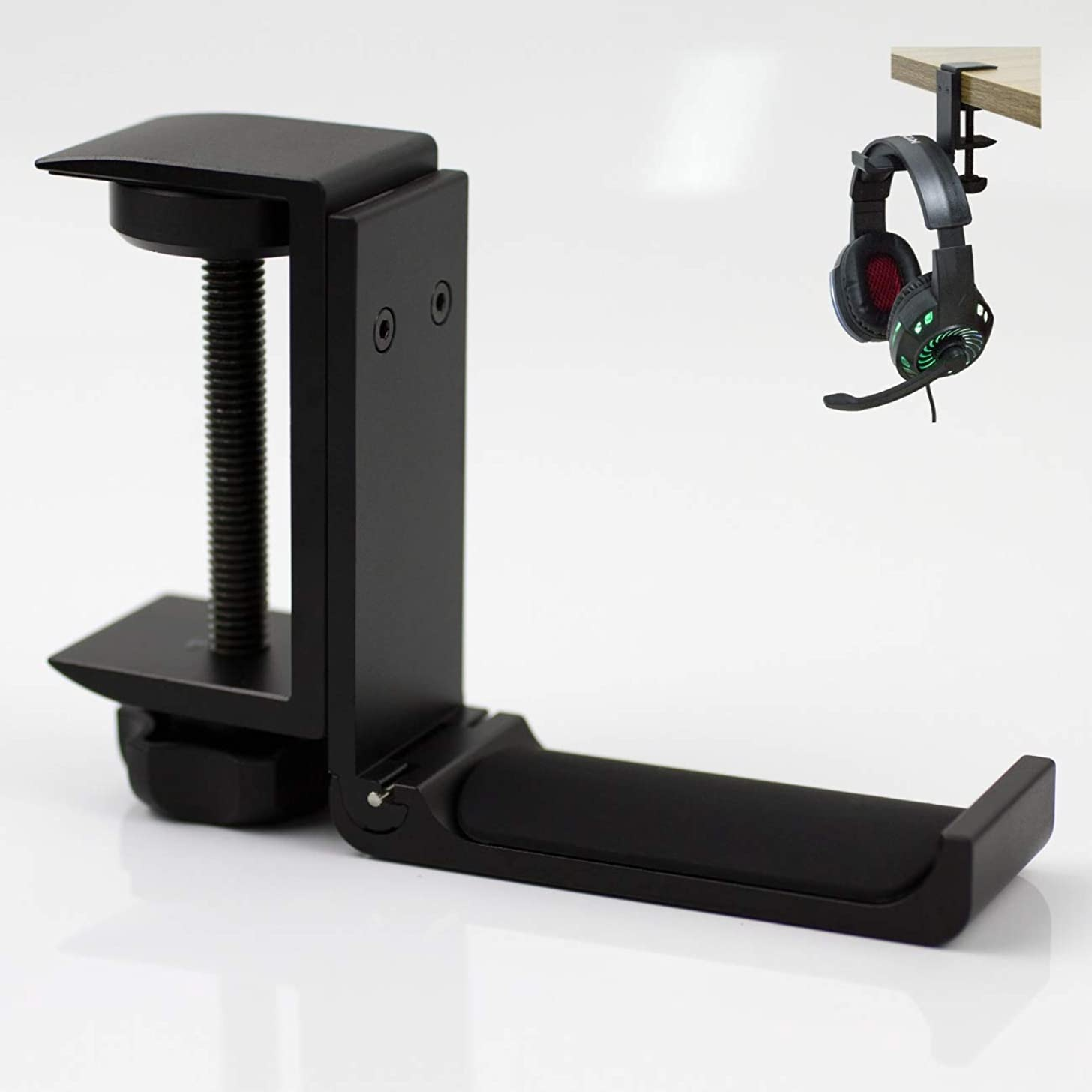 """Foldable Clamp On Under Desk Headsets Holder, Fit for Large DJ Headphones Headband Width up to 2.5"""", Hook-Like Ending Prevent Accidently Dropping"""