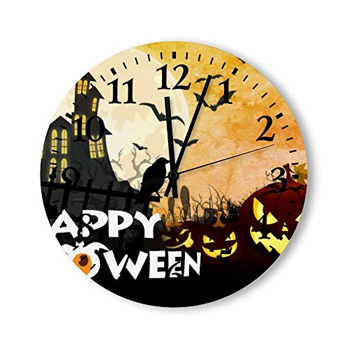 Espeluznante casa embrujada Disfraz Cielo Nocturno Halloween Reloj de Pared Redondo, rsticos Relojes silenciosos casa de Campo cabaa decoracin del hogar del pas