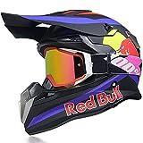 Fullface Helmet, Motorcycle Helmet, Bicycle Helmet, ABS DOT/ECE Certification, Four Seasons, Large Rally Helmet, Mountain Bike, Downhill Helmet, Glasses Gloves, Red Bull,L