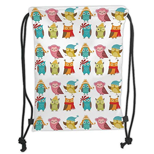 Fevthmii Drawstring Backpacks Bags,Winter,Cartoon Style Funny Owls Cute Characters with Hats and Scarf Colorful Birdies Decorative, Soft Satin,5 Liter Capacity,Adjustable String Closure,The