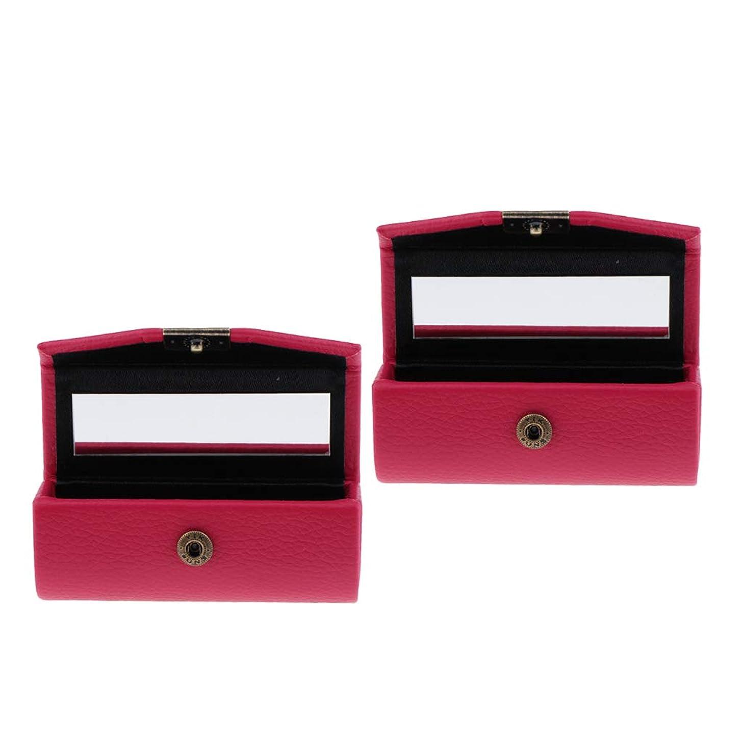 首コピー芸術T TOOYFUL 口紅ケース リップスティックボックス ミラー付き PUレザー メイクアップ 収納ホルダー 全4種 - ローズレッド