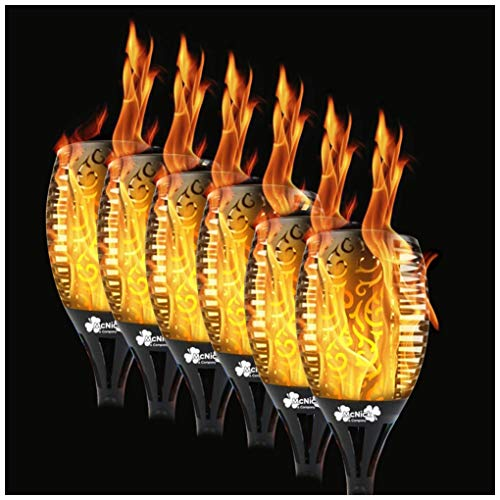 6 Pack - 96 LED Waterproof Solar Flickering Flame Torch - Outdoor Tiki Torches Flickering Flame Lamp Pathway Lights