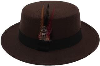 Lei Zhang 2018 Winter Wool Pork Pie Boater Flat Top Hat for Women Men Felt Wide Brim Fedora Player Hat