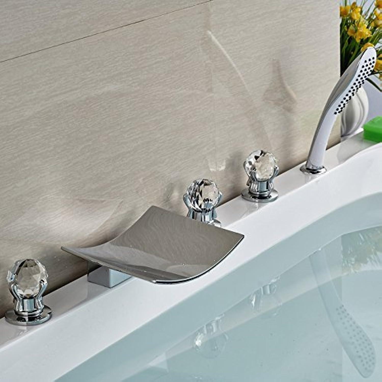 Deck Mount Badezimmer Waterfall Tub Mischbatterien Chrom Messing Roman Tub Faucet mit Handdusche