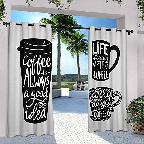 Coffee Waterproof gazebo cortinas, Citas sobre Café con Take Away Mug Silhouette Drinking Addiction Theme, Aislamiento térmico, sombreado y impermeable, W108 x L96 Pulgadas Gris Pálido Negro