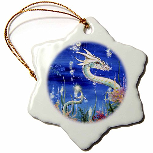 3dRose ORN 41483_ 1Dragon Lore weiß Wasser Dragon Schneeflocke Ornament, Porzellan, 3Zoll