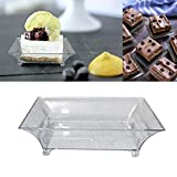 2.5' Mini Clear Plastic Square Dessert Plates. Pack Includes 100 Tasting Sample Hors D'oeuvres Plates.