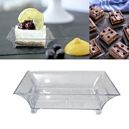 2.5 Mini Clear Plastic Square Dessert Plates. Pack Includes 100 Tasting Sample Hors Doeuvres Plates.