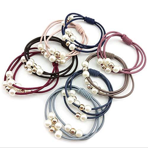 HYhy Faux Perle Haarband Seil Set Runde Kugel Perlen Elastizität Haargummis Einfache Pferdeschwanz Stirnband, 12 STÜCKE