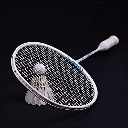 XJST Racchette da Badminton di qualità, Set di Racchette di Badminton Offensivo Super Leggero, in Fibra di Carbonio Composito, per Principianti E Giocatori Avanzati,Bianca