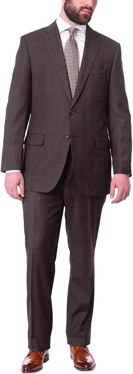 B. Jacket Mens Regular Fit Brown Plaid Half Canvassed 100% Wool Suit