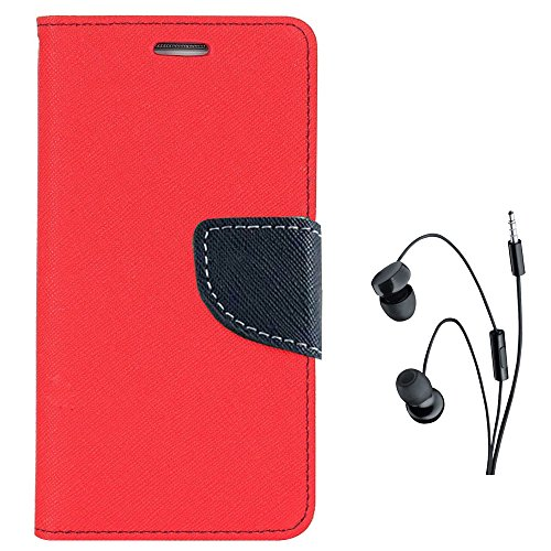 Avzax® Stylish Luxury Magnetic Lock Diary Wallet Style Flip Cover Case for Apple iPhone 5s (Red) + in Ear Headphone