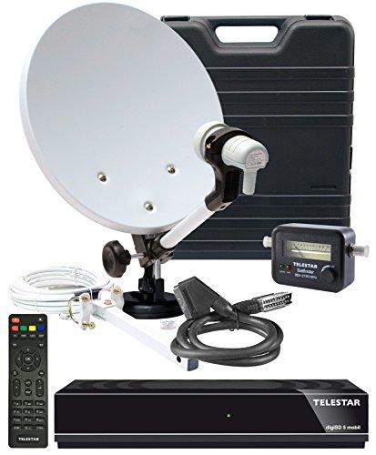 Telestar 5103328 Camping-Sat-Komplett-Anlage digiSD 5 mobil (Receiver, 35 cm (13,7 Zoll)Spiegel, Single-LNB, Kompass, Sat-Finder,10m Kabel, diverse Halter) Beige