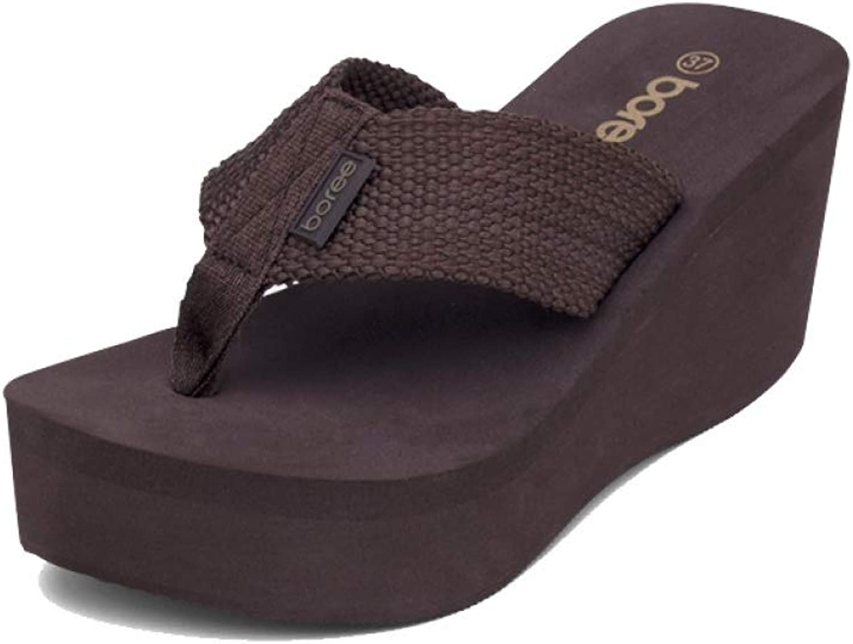 MEIZOKEN Summer Women's Sandals Flip Flops Casual shoes Soft Knitting Platform Non-Slip Thick Soled Beach Slippers