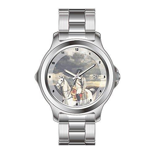 FDC Weihnachten Geschenk Uhren Herren Fashion Japanisches Quarz-Datum Edelstahl Armband Armbanduhr Academicism Napoleon I in 1814–Ernest Meissonier Armbanduhren