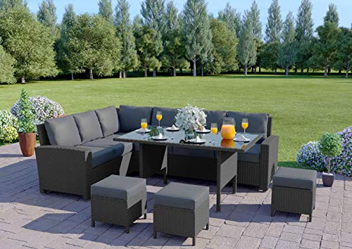 Abreo 9 Seater Corner Rattan Dining Set Garden Sofa Furniture Black Brown Grey (Solid Grey with Dark Cushions) INCLUDES OUTDOOR COVER