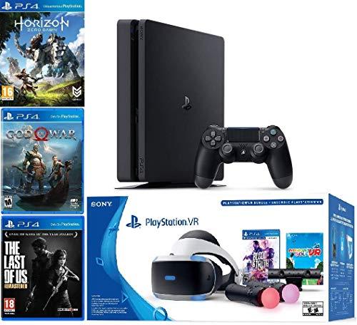 2019 Playstation 4 Slim PS4 1TB Console + Playstation VR Headset + Playstation Camera + Playstation VR Move Controllers + 5 Games Bundle (Renewed)