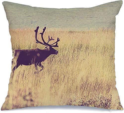 Decoración Throw Pillow Cover Funda de cojín Finlandia Marrón Ciervo Reno Go Noruega Animales Vida silvestre Caribú Parques Rojo Naturaleza Nórdico Suecia Salvaje Funda de Cojine 45 X 45CM