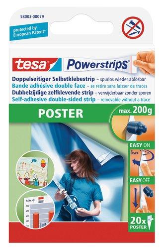 tesa Powerstrips Poster (Doppelseitige Klebestreifen für Poster und Plakate, Selbstklebend und mehrfach verwendbar, bis zu 200 g Halteleistung) 20 Stück