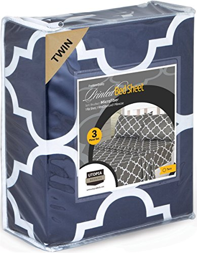 Utopia Bedding 3PC Bed Sheet Set 1 Flat Sheet, 1 Fitted Sheet, and 1 Pillow Case (Twin, Navy)