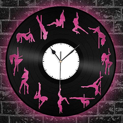 zgfeng Disco de Vinilo del Reloj de Pared Hueca diseño Creativo Regalo para Las Chicas Bar Living Home Decor Pole Dance with led Light-with_LED_Light