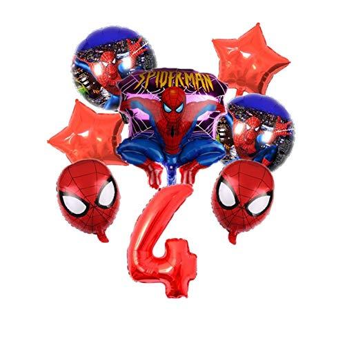 JSJJAEA Globos numéricos 8 piezas tema Spiderman numeración de papel de aluminio globo decoración fiesta de cumpleaños inflable helio globo juguete decoración (color: 4)