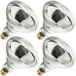 Industrial Performance 250R40/1, 250 Watt, 120 Volt, R40 Glass Size, 5000 Hour Life, Medium Screw (E26) Base,Infrared Reflector Heat Lamp Light Bulb (4 Bulbs)