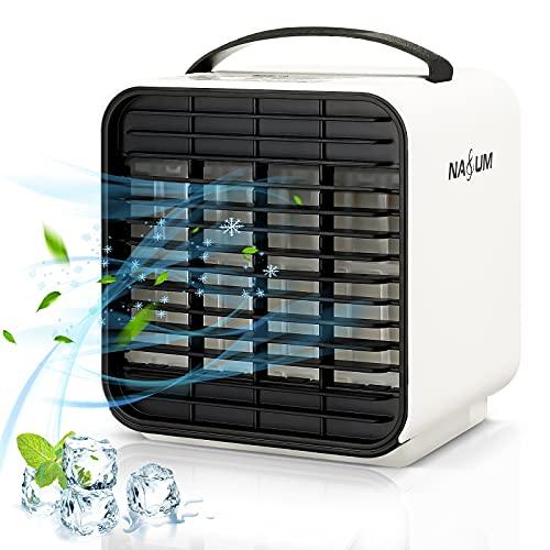 NASUM 冷風機 冷風扇 扇風機 卓上 小型 コンパクト 携帯便利 給水 ミニクーラー ミニファン 携帯扇風機 ポータブルファン ポータブルクーラー USB充電式 バッテリー内蔵 3段階風量調整 LEDライト搭載 アウトドア/自宅/オフィス用