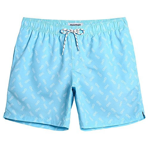 MaaMgic Mens Quick Dry Swim Trunks with Mesh Lining Flamingo Boardshorts, Light Blue, Medium ( Waist:31 inches-33 inches )