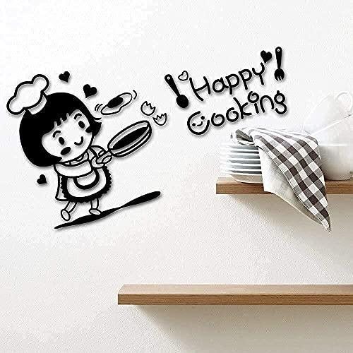 Etiqueta De La Pared Decoración De La Pared De Vinilo Cocina Cocina Feliz Cocina Decoración Del Hogar Chef Restaurante Decoración 57X32 Cm