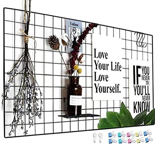 WJSX DIY Hierro Cuadrícula Panel Foto Pared Multifunción Metal Mesh Pared Decoración Colgando Foto Pared/Rejilla Creativa(15,7 X 31,4inch Negro)