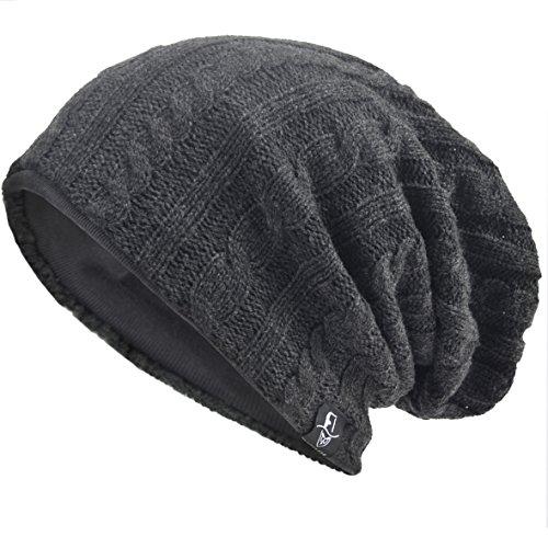 VECRY Herren Slouchy Stricken Übergroße Beanie Skull Caps Künstlerische Hüte (Kabel-Grau)
