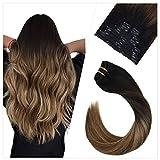 Ugeat 16 Pouces Tete Entiere Clip in Extensions Cheveux Remi Humain Bresilien Naturel Lisse Droite Noir Fading to Brun Moyen #6 et Blond Dore #16 (100 Grammes,10 Pieces)