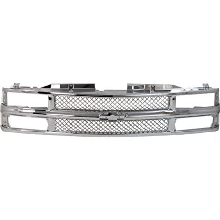 Grille Assembly Compatible with 1994-1999 Chevrolet K1500 Mesh Chrome Shell and Insert with Composite Headlights