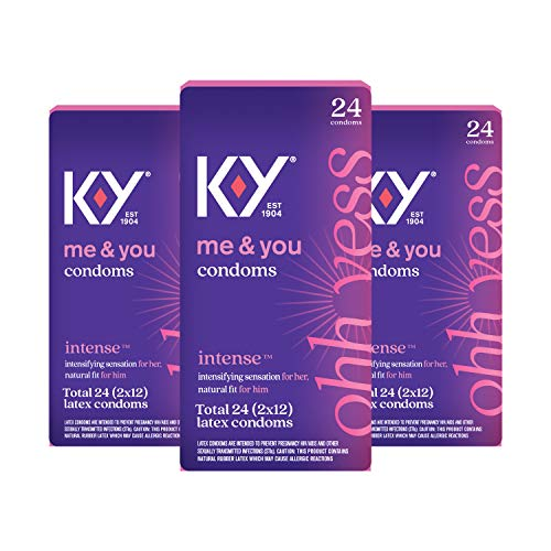 K-Y Intense Latex Condoms 24 Count (3 Pack), Discreetly Packaged with Silicone-Based Lubricant, Ribbed and Dotted with Specially Formulated Lube to Intensify Her Pleasure