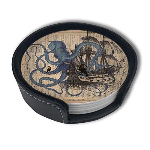 OUYouDeFangA Ocean Octopus - Posavasos con diseño de bandera pirata náutica con soporte, tazas redondas y tazas para bebidas, apto para el hogar y la cocina (6 piezas)