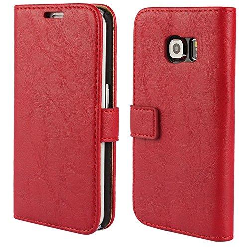 FDTCYDS Etui Galaxy S6 Edge,Pochette Portefeuille en Cuir Véritable Coque de Protection pour Housse Samsung Galaxy S 6 Edge avec Fonction Stand – Red/Rouge