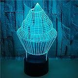 FREEZG Luz Nocturna Infantil Helado comida creatividad 3D LED ilusión escritorio lámpara de mesa decoración del partido del hogar multicolor de noche festival de niños dibujos animados juguete de Nav