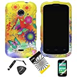 4items Combo: ITUFFY (TM) LCD Screen Protector Film + Stylus Pen + Case Opener + Design Rubberized Snap on Hard Shell Cover Faceplate Skin Phone Case for 2nd Generation ZTE Whirl2 Z667G / ZTE Prelude2 Z667T / ZTE Zinger Z667 (Yellow Flower Butterfly)