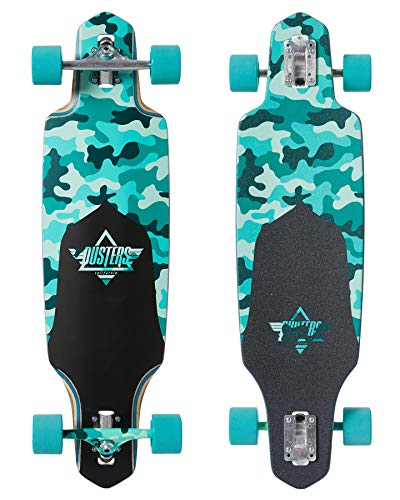 Dusters Longboard Channel Dragonfly Camo/Teal Drop Through 34