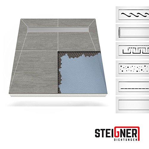 Duschelement mit Rinne Duschboard MINERAL PLUS - BERLIN (befliesbar) 120x120 cm Ablauf KURZSEITE - Edelstahlrinne