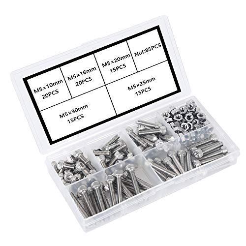 Schrauben M5 304 Edelstahl-Innensechskant-Bolzenset Feststehender Eisenrahmen, Mechanische Innensechskantschraube und Muttern-Set rostfrei.